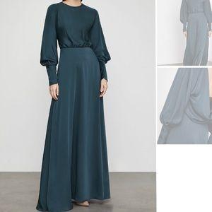 BCBGMAXAZRIA satin draped back maxi dress classy